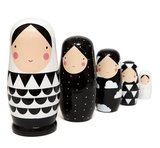 XL nesting doll zwart wit