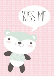 Kinderposter Roze Kiss me