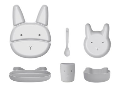 LIEWOOD Jules Kinderservies Rabbit grey