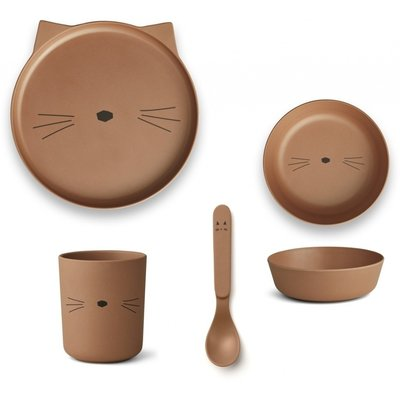 LIEWOOD Kinderservies Bamboe Cat terracotta