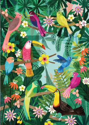 Poster Petit Monkey rain Forest Birds