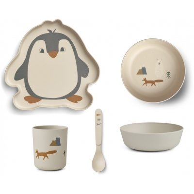 LIEWOOD Kinderservies Bamboe Pinguïn Arctic Mix