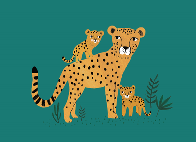 Petit monkey kaart Cheetah and cubs
