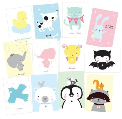 Kaarten set Cute Animals