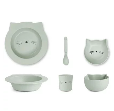 LIEWOOD Baby Servies Cat Dusty Mint
