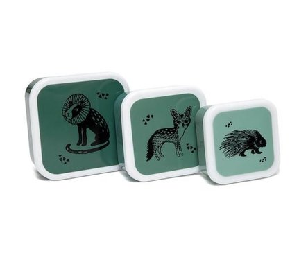 Petit Monkey lunchbox set Black Animals Salie