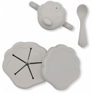 Konges Slojd Babyservies Siliconen Clam Set Warm Grey