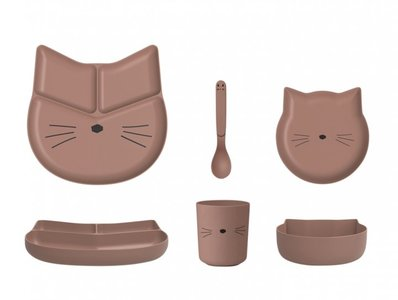 Liewood Jules bamboo set Cat Dark Rose