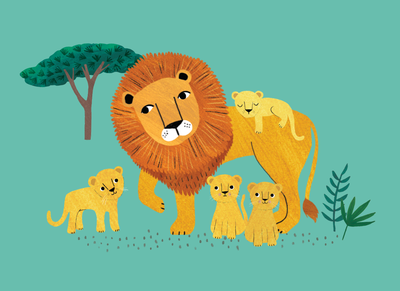 Ansichtkaart Lion and cubs petit monkey