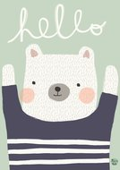 Hello Bear Poster Petit Monkey